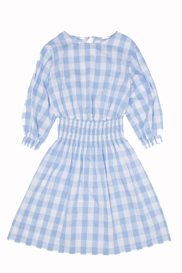 Milk & Biscuits Blue gingham smocked dress