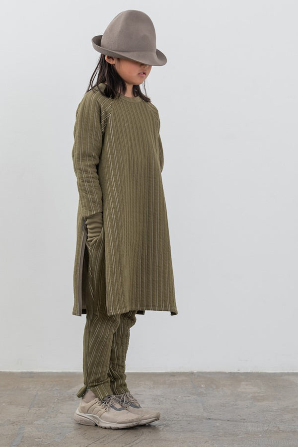 MOUN TEN. stripe quilt side slit dress khaki