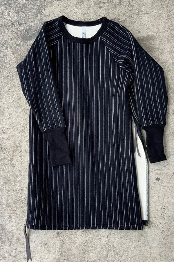 MOUN TEN. stripe quilt side slit dress black