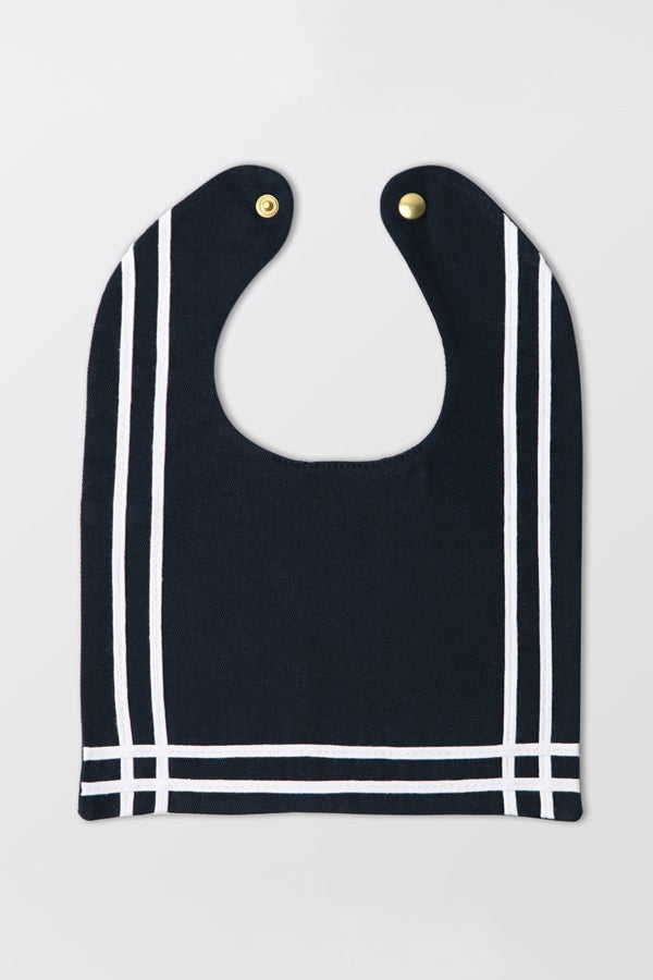 Rocket Pear navy blue sailor bib with ribbon