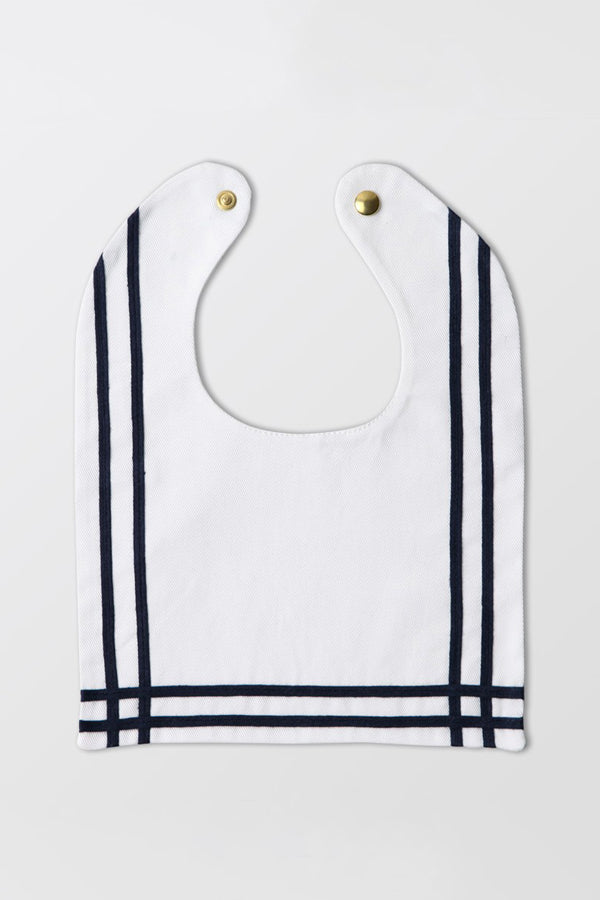 Rocket Pear white sailor bib with ribbon