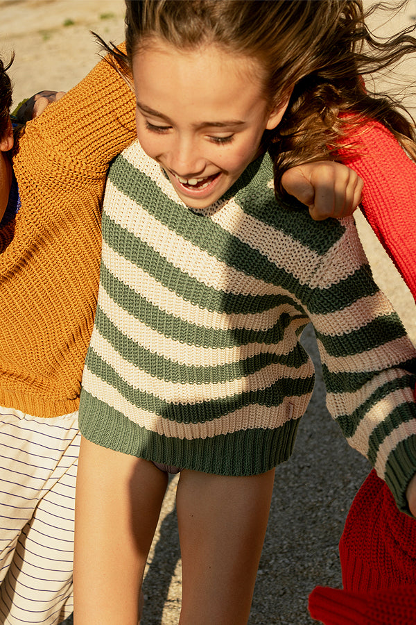 TINYCOTTONS STRIPES SWEATER green / light cream