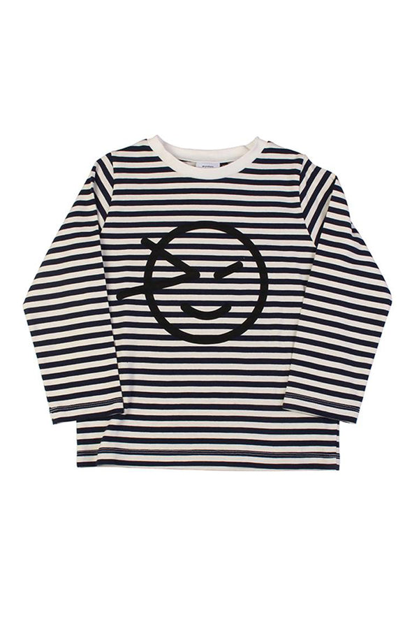 【35%OFF】Logo Print Stripe Long Sleeve Tee Navy/Ecru