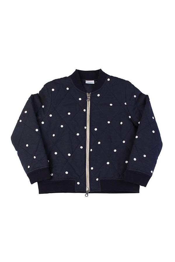【40%OFF】Spot Bomber Navy W/White Dots