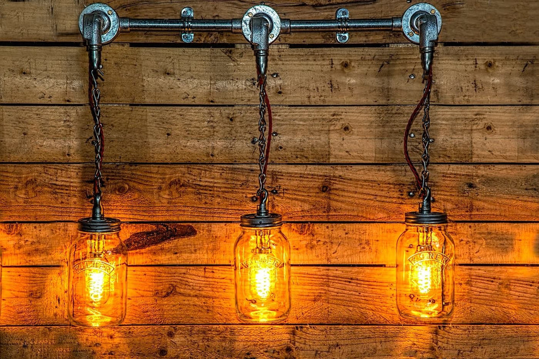 Industrial 3x kilner mason jar wall light, it comes with vintage edison bulbs. Restaurant, bar and kitchen lighting.