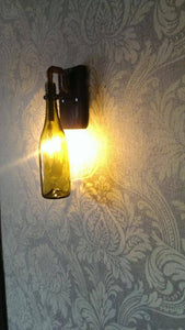 Unique handmade 5 x wine bottle wall light, with wooden base and copper pipe