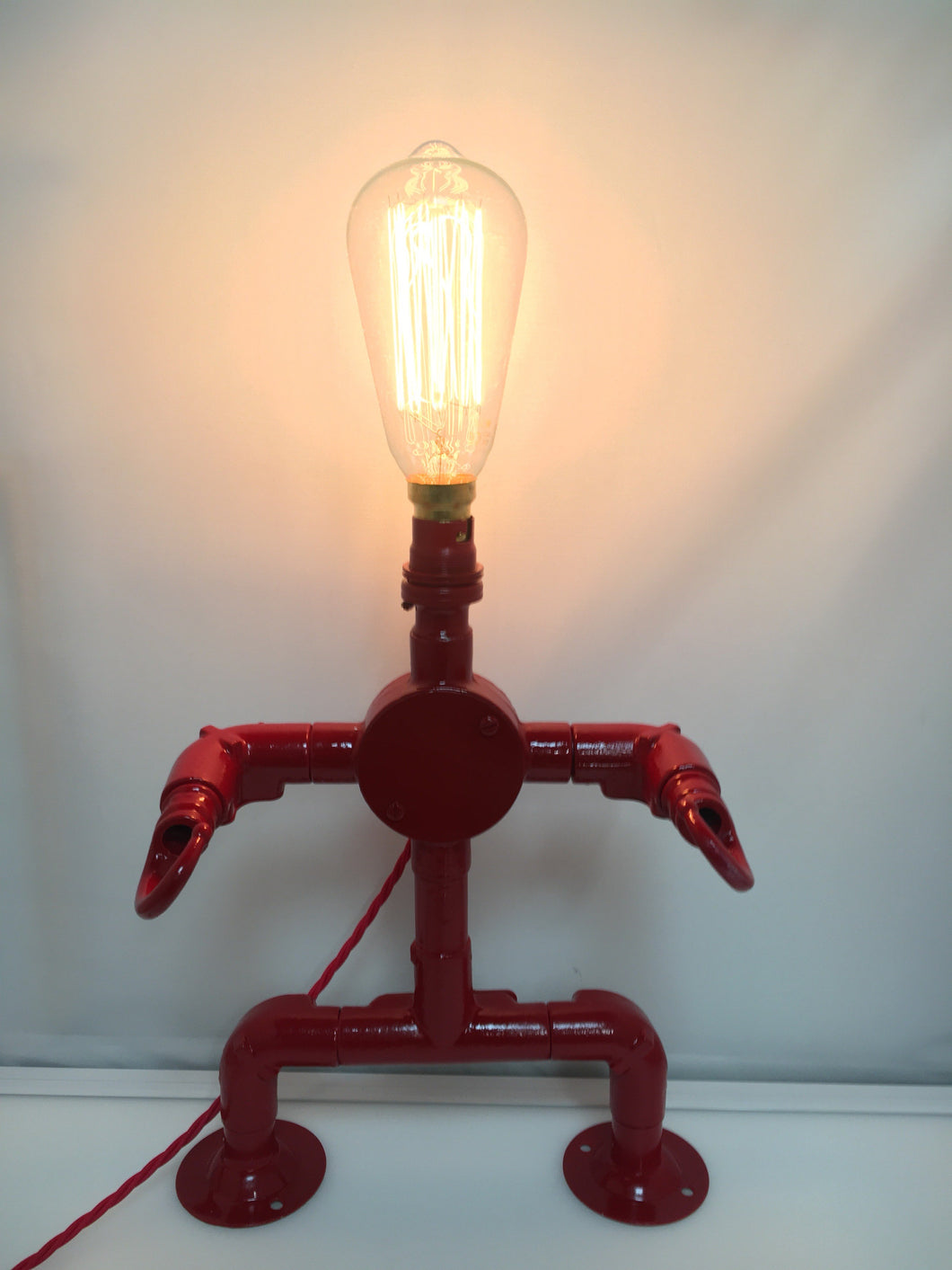 LIGHTBOT! THE INDUSTRIAL STEEL PIPE ROBOT TABLE LAMP, CONDUIT EDISON BULB