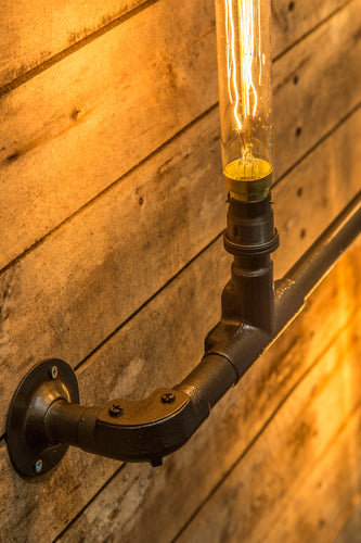 Industrial look steel pipe wall light, comes with 3 vintage edison bulbs