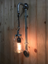 Load image into Gallery viewer, Industrial steel pipe wall light, with kilner jar and edison filament lamp. steampunk style bar bistro cafe pub restaurant