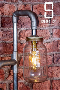 Industrial steel table lamp with two LED vintage filament bulbs in Kilner jars