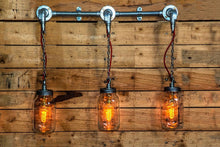 Load image into Gallery viewer, Industrial 3x kilner mason jar wall light, it comes with vintage edison bulbs. Restaurant, bar and kitchen lighting.