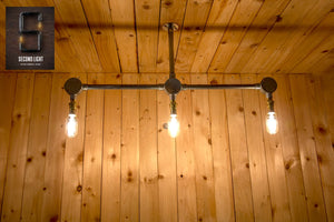 Industrial Steel ceiling mounted 3 bar light steampunk style chandelier