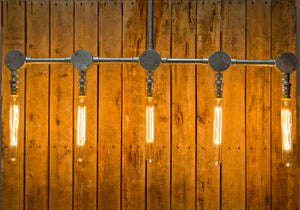 Steel conduit pipe ceiling light, with 5 lamp outlets, comes in a variety of colour finishes with 5 edison light bulbs, Industrial look bar restaurant, bistro or loft apartment