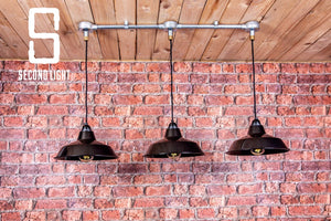Industrial hanging pendant ceiling light with 3 black shades