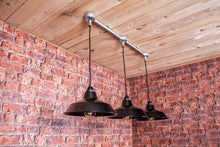 Load image into Gallery viewer, Industrial hanging pendant ceiling light with 3 black shades