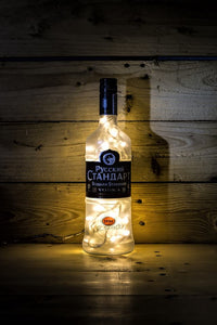 Russian standard frosted glass illuminated bottle lamp
