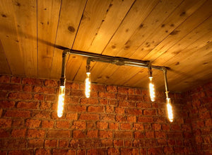 Industrial steel ceiling light with 4 LED vintage filament bulbs