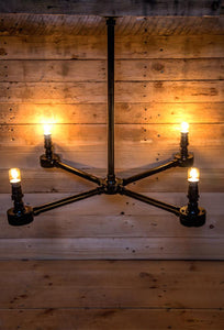 Industrial hanging steel conduit chandelier,  comes with vintage edison bulbs