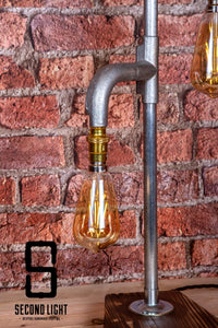 Industrial Steel table lamp with two LED Vintage filament bulbs