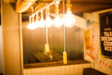 Load image into Gallery viewer, Industrial steel conduit, 7 edison bulb hanging ceiling light.