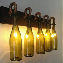 Load image into Gallery viewer, Unique handmade 5 x wine bottle wall light, with wooden base and copper pipe
