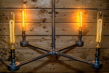 Load image into Gallery viewer, Industrial hanging steel conduit chandelier,  comes with vintage edison bulbs