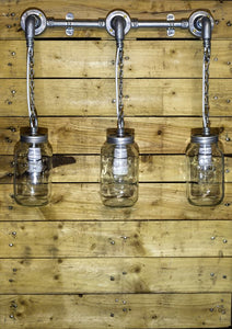 Steel conduit and Jar lights hung on chains