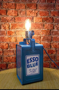 Vintage Esso petrol can table lamp, Man cave or Garage lamp with vintage bulb