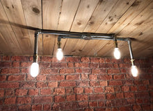 Load image into Gallery viewer, Industrial steel ceiling light with 4 LED vintage filament bulbs