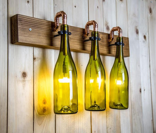 3 hanging wine bottle wall light, copper pipes with wooden base
