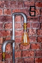 Load image into Gallery viewer, Industrial Steel table lamp with two LED Vintage filament bulbs