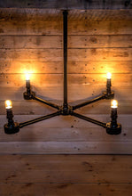 Load image into Gallery viewer, 4 arm black steel chandelier made from steel conduit pipe and comes with vintage edison bulbs.