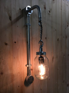 Industrial steel pipe wall light, with kilner jar and edison filament lamp. steampunk style bar bistro cafe pub restaurant