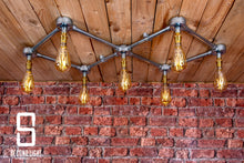Load image into Gallery viewer, Industrial steel ceiling light with 7 LED vintage filament bulbs