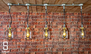 Industrial steel 5 hanging mason jar ceiling light