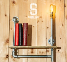 Load image into Gallery viewer, Industrial steel shelving unit with vintage LED Bulb