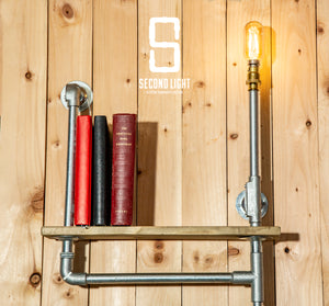 Industrial steel shelving unit with vintage LED Bulb