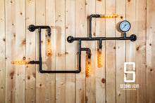 Load image into Gallery viewer, Industrial matt black steel pipe wall light with vintage edison light bulbs