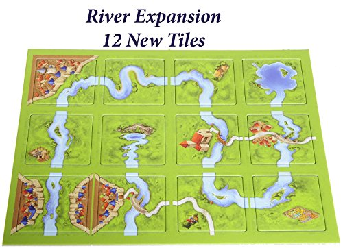 Carcassonne Game (New Edition)_ for 2 to 5 Players _ Includes River Expansion & The Abbot Expansion _ Bonus 2 Gold Drawstring Storage Bags by Z-Man Games - SportsnToys