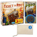 Days of Wonder's Ticket to Ride and Ticket to Ride: USA 1910 Expansion Bundle | Includes Convenient Drawstring Storage Pouch with Game Players Logo Printed - SportsnToys