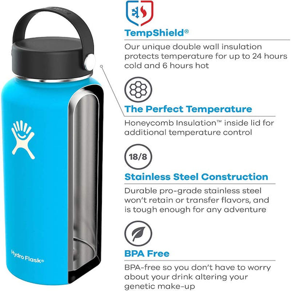 Hydro Flask Water Bottle - Stainless Steel & Vacuum Insulated - Wide Mouth with Leak Proof Flex Cap - 32 oz Black - SportsnToys