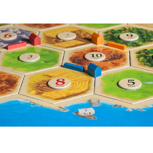 Catan 5th Edition Board Game with Catan 5-6 Player Extension Bundle | Includes Convenient Drawstring Storage Bag with Game Players Logo Printed - SportsnToys