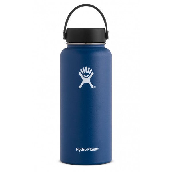 Hydro Flask Water Bottle - Stainless Steel & Vacuum Insulated - Wide Mouth with Leak Proof Flex Cap - 32 oz Cobalt - SportsnToys