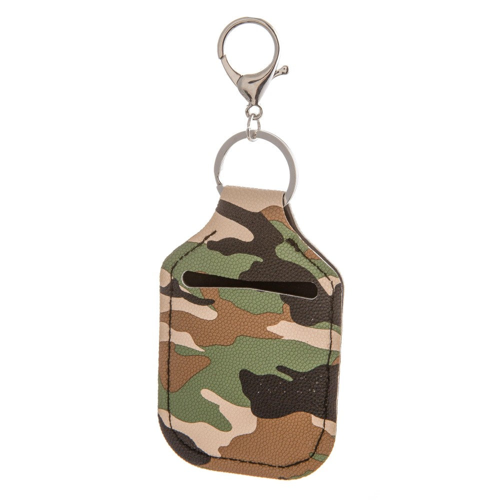 Camo Print Hand Sanitizer Holder Keychain
