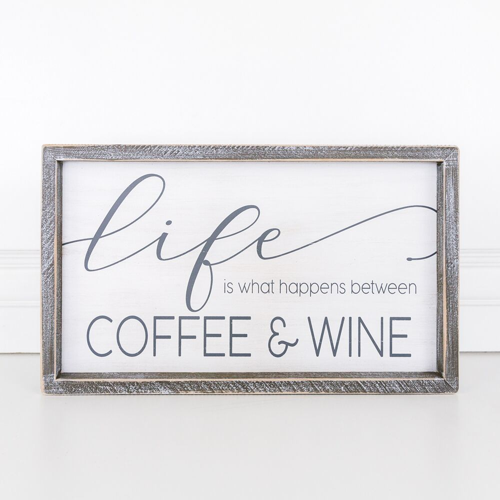 Coffee & Wine Framed Sign