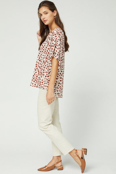 Spotted V-Neck Top w/ Dolman Sleeves