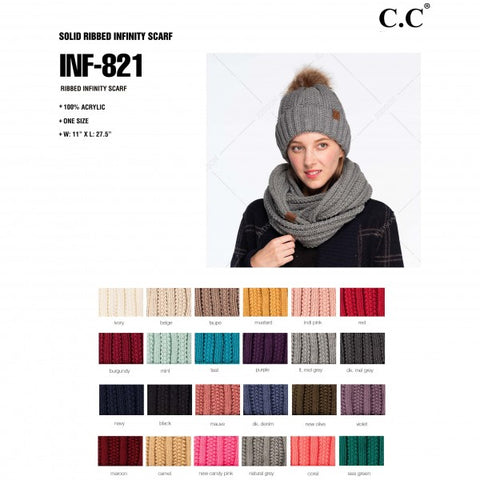 C.C Solid Ribbed Infinity Scarf