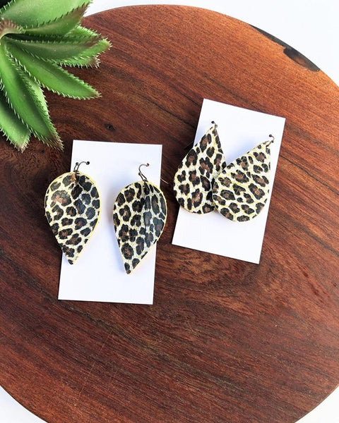 "2"" Banana Leopard Leather Earrings"