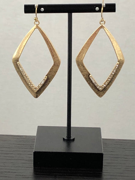 Gold Diamond Shape Hoop Earrings w/ Clear Crystals