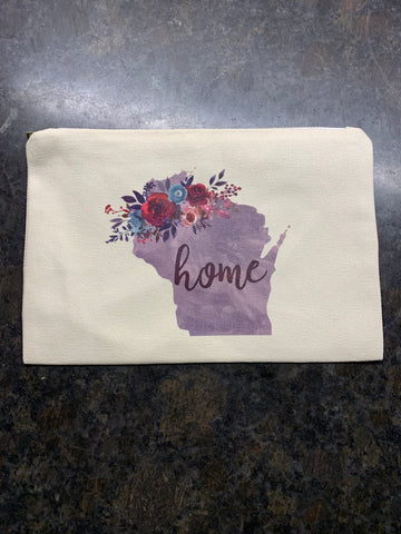 WI State Home Makeup Bag
